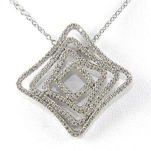 Jewelry - Square Diamond Curve Necklace Pendant 14K WG .97Ct